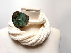 Knit Infinity Scarf Necklace Loop Scarlette Neckwarmer  by ixela, $39.00