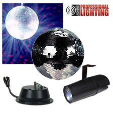"""This kit contains everything you need to create dazzling mirror ball effects. It comes with an 8"""" glass-tiled mirror ball, motor and spot light with adjustable mounting bracket. Installs in minutes and is great for house parties, mobile DJs and permanent club installations. Our best value in mirror ball kits."""