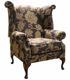 queen anne high back fireside wing chair tiffany aubergine fabric