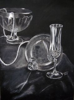 Black paper and white pastel to capture light; still-life