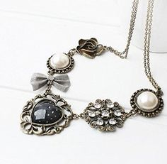 Topstaronline (TM) Bronze classic Pearl bowknot roses heart shaped retro Necklace Chain