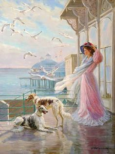 """A Windy Day with Borzois and Seagulls"" by Alexander Averin"