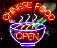 """Chinese food """"Open"""" neon sign"""