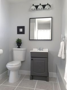 Small Garage Bathroom   Painted : Vanity U0026 Wall(Behr  Dolphin Fin  Gray