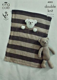 K4005 Babies Teddy Bear Pram Blanket and by KnittingPatterns4U