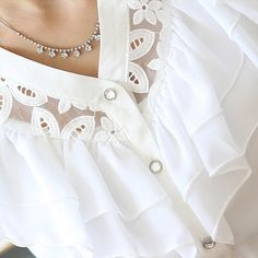 Fashion Black/White Short Sleeve women Ruffle lace chiffon blouse feminina…