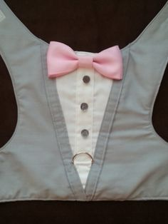 TUXEDO HARNESS Gray with Pink Bow Tie - XLarge and XXLarge Size Listing