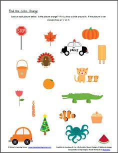 color recognition worksheets orange - Color Worksheets For Preschoolers