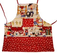 Cowboys on the Range Activity Apron by StitchesandSparkle on Etsy.  Does your little guy like horses and cowboys?  If so, this apron is a perfect fit and a wonderful apron for helping Mom in the kitchen and for craft time at home or school.