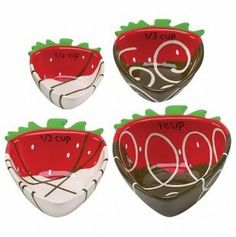 "Chocolate Covered Strawberry Nesting Measuring Cup Set - 4 Pc by Kitchen Corner. $26.99. Dishwasher safe. Includes 1/4 cup, 1/3 cup, 1/2 cup, 1 cup Dishwasher safe Imported. Imported. Earthenware. You can never have too many chocolate-dipped strawberries, and this measuring cup set is (almost) as delicious as the real thing! Hand painted with beautiful colors and sweet swirly ""chocolate"" patterns, this durable 4-piece nesting set is a treat to use come cooking time."