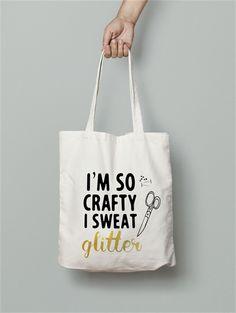 I am so crafty calico tote bag canvas market beach bag shopper  glitter                                                                                                                                                      More