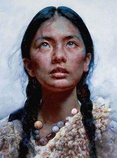 Artist: Ai Xuan 艾轩, oil on canvas {contemporary figurative art female head woman face portrait cropped painting #loveart} #OilPaintingPortrait