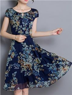 ericdress.com offers high quality  Ericdress Floral Print Short Sleeve Round…