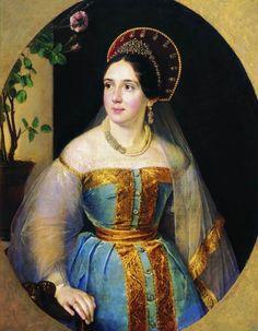Russian costume in painting. Vasily A.Tropinin. Portrait of Catherine Ivanovna Karzinkina, Merchant's Wife. Circa 1840 - 1850. #art #folk #painting #Russian