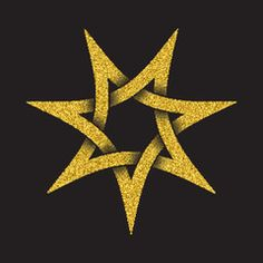 I love the layering Golden glittering logo template in Celtic knots style on black background. Tribal symbol in seven pointed star form. Gold ornament for jewelry design. Tribal Symbols, Celtic Symbols, Celtic Art, Celtic Knots, 7 Pointed Star, Sparkles Background, Glow Stars, Star Tattoos, Skull Tattoos