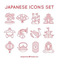 More than a million free vectors, PSD, photos and free icons. Exclusive freebies… More than a million free vectors, PSD, photos and free icons. Exclusive freebies and all graphic resources that you need for your projects Free Vectors, Vector Free, Vector Icons, Icon Set, Japanese Icon, Emoticon, Japon Illustration, Japanese Graphic Design, Japan Design