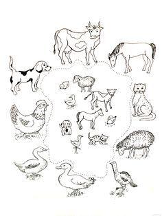 Zvířata a jejich mláďata Farm Activities, Animal Activities, Preschool Themes, Preschool Worksheets, Educational Activities, Preschool Activities, Farm Animal Coloring Pages, Colouring Pages, Animal Worksheets