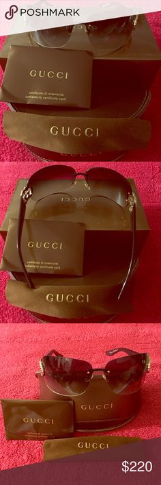 Black gradient lenses, Gucci 🕶 Sunglasses 😎 Very cute black Gucci sunglasses with gradient lenses. Glasses 👓 came with authenticity card and Gucci cloth. I got those glasses from another pusher. I love ❤️ those old Gucci glasses 👓 but this one didn't cover my eyebrows. I like them big. Please ask questions and make an offer. Gucci Accessories Glasses