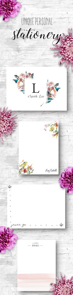 Unique personal stationery that is pretty, easy to customize, and beautiful to use. Use for professional, business, or personal thank you cards, notes and notecards, or labels for gifts. Great gift idea for her from CardAmour!