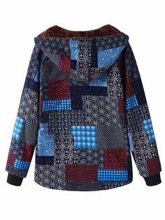 O-NEWE Casual Block Printing Hooded Fleece Coat For Women