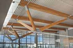 Image 3 of 10 from gallery of University of Windsor CEI / B+H. Photograph by Tony Hafkenscheid Timber Architecture, Timber Buildings, Sustainable Architecture, Architecture Details, Modern Barn House, Steel Columns, Timber Structure, Roof Detail, Building Systems