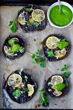 roasted portobellos with parsley cashew cream