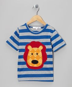 Take a look at this Blue Stripe Lion Head Tee - Toddler & Boys on zulily today!