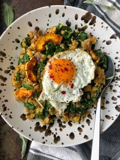 Pumpkin Cauliflower Rice Risotto - The Cutting Veg Cauliflower Rice Risotto, Zucchini, Pumpkin Risotto, Sauteed Kale, Dairy Free Eggs, Canned Pumpkin, Pumpkin Puree, Eat Lunch, Foodblogger