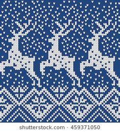Norwegian sweater deer snowflake. Seamless Knitting Pattern