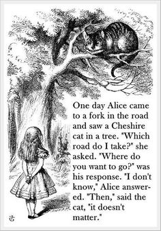 "One day Alice came to a fork in the road and saw a Cheshire cat in a tree. ""Which road do I take?"" she asked.""Where do you want to go?"" was his response. "" I dont know"" Alice answered, ""Then"", said the cat,"" it doesn't matter."""