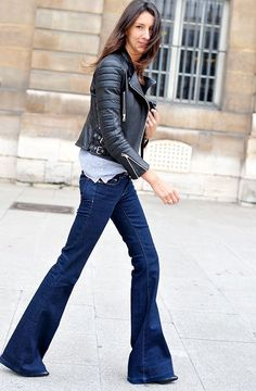 Flare jeans with leather jacket