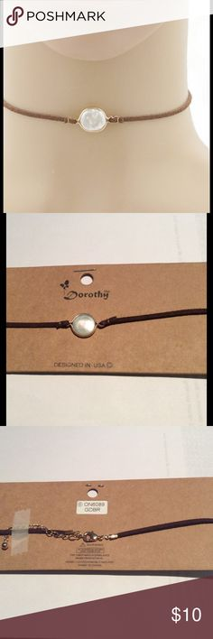 """Brown Choker With Pearl Freshwater pearl Suede leatherette Choker  12"""" with 3"""" extension  gold and brown   Brand new in package Jewelry Necklaces"""