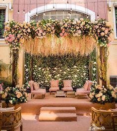Punjabi Wedding Decor, Wedding Mandap, Marigold Wedding, Floral Wedding, Mandap Design, Wedding Stage Decorations, Decor Wedding, Wedding Ideas, Floral Backdrop