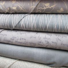 A Field Guide (Janet Clare for Moda) : textural prints in a soft, natural palette of earthy greys, greens and blues with a hint of red and lavender