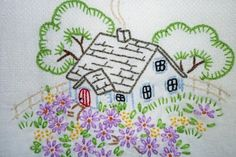 Cozy Cottage Hand-Embroidered Vintage by MelysHandEmbroidery