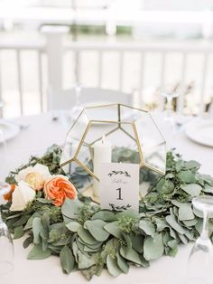 Can't Get Enough of the Flowers In This Beach House Wedding geometric terrarium with floral wreath garland. Wedding Table Themes, Unique Wedding Centerpieces, Wedding Flower Arrangements, Flower Centerpieces, Wedding Decorations, Centerpiece Ideas, Garland Wedding, Geometric Wedding, Floral Wedding