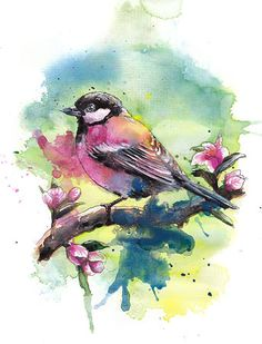 Watercolour birds sitting on branches with flowers