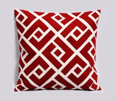Red and white pillow cover  Greek Key Neo  by Pillowation on Etsy, $42.00  Bedroom blue walls, whit and gray color scheme w/pops of red