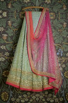 Light green net based thread work lehenga choli set indian wedding dresses lehenga choli set Swati Manish inspired lehenga Check out this item in my… Indian Lehenga, Lehenga Choli, Anarkali, Floral Lehenga, Kids Lehenga, Indian Wedding Outfits, Indian Outfits, Indian Clothes, Bridal Outfits