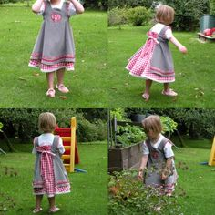 Simpler Feliz, gray overdress with applique and gingham underdress.