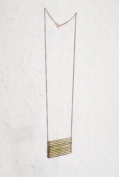 brass stacked bar necklace, mothhouse, etsy