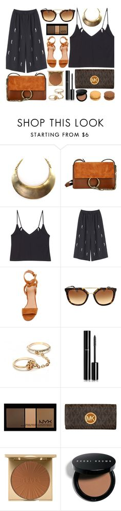 """Dark Night"" by monmondefou ❤ liked on Polyvore featuring Sigerson Morrison, Prada, Chanel, NYX, Stila, Bobbi Brown Cosmetics, black and brown"