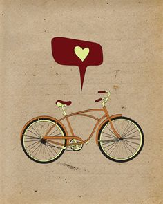 Bicycle Print Art / Bike Poster, 8x10 Antique Bike Print, Retro Old School Cycling, Vintage Bicycle Decor. $19.00, via Etsy.