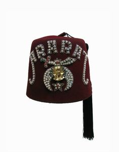 6bd8250bc75 Vintage Shriners Fez With Tassel Mens Ararat Red Turkish Masonic Hat