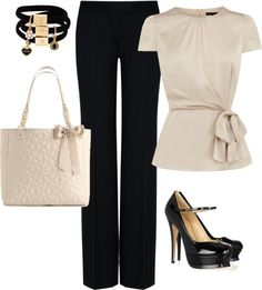 """""""black pants and beige top"""" by missyalexandra on Polyvore"""