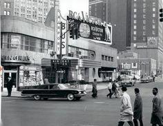 The old Greyhound station (and Cunningham's drugstore) with the Statler in the background, about 1960