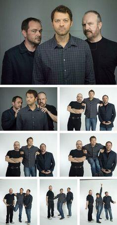 Jim Beaver (Bobby), Misha Collins (Castiel) Mark Sheppard (Crowley) SPN, Supernatural