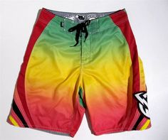 FOX Mayhem Surf Boardshorts Sz 33 Green Yellow Orange Black Swim Trunk $27.99 #FOXMayhem #Boardshorts #Surf