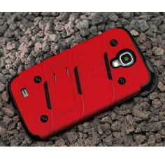 For Samsung Galaxy S4 i9500 - BOLT Case Cover Protector w Kickstand, Holster, Screen Protector, Hook, Lanyard, and Accessories in Retail Packaging - Red Black BOLT,1