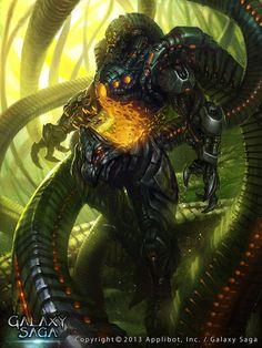 Artist: Unknown name aka Davey - Title: King of Chaos Planet 2 - Card: Dreamborn Apparatus (Onyx) Alien Concept Art, Sci Fi Armor, Futuristic Art, Cg Art, Matte Painting, Creature Concept, Environmental Art, Weird World, Dark Fantasy Art